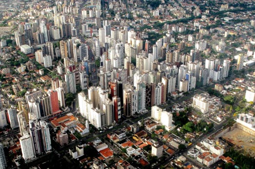 Centro de Curitiba visto de cima
